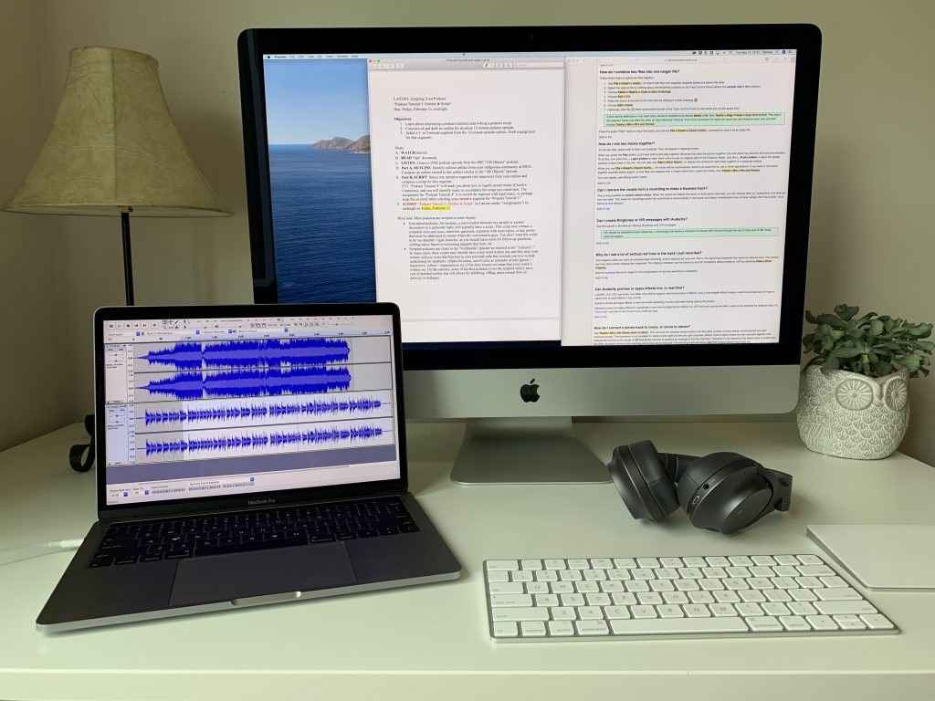 Audio recording and editing software Audacity, along with notes from a podcasting tutorial.